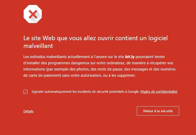 Google considère Bitly comme malveillant